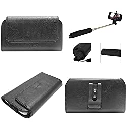 DMG Durable Cell Phone Pouch Carrying Case with Belt Clip Holster for Moto e XT1022 (Black) + Wireless Bluetooth Selfie Stick with Image Zoom