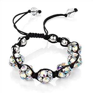 AB Multi coloured Crystal Pave Disco Magnetite Ball Beads Fancy Gift Celebrity Friendship Shamballa Type Bracelet - Adjustable