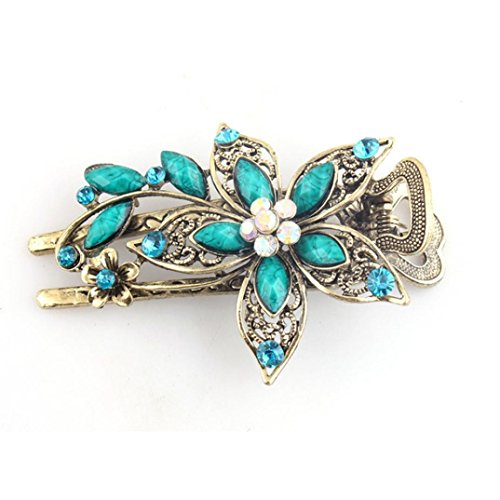GBSELL Vintage Flower Jewelry Crystal Hair Clips Hairpins Accessories For Weddings Christmas (Blue)