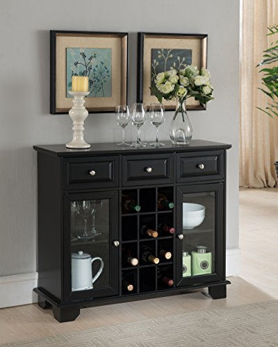 Kings Brand Furniture Buffet Server Sideboard Cabinet with Wine Storage, Black (Wine Servers compare prices)