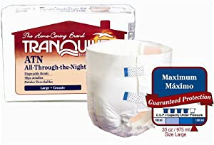 "Tranquility/Principle Bus Ent All Through The Night Med Disposable Brief, 32"" -44"" (PU2185) Category: Adult Incontinence Underwear"