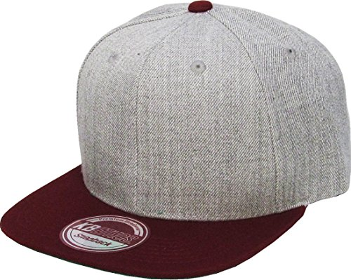 KAW-3467 H.LGY-BUR KBETHOS Plain Adjustable Wool Blend Snapback Cap – Classic Solid