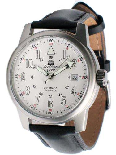 Aeromatic 1912 22-Jewel Automatic Aviator's Watch A1027 White