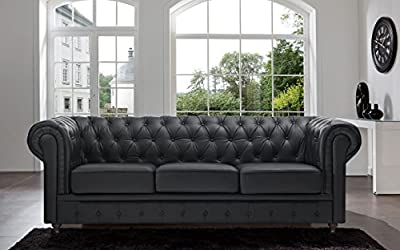 Classic Scroll Arm Tufted Button Bonded Leather Chesterfield Style Sofa (Black and White, Sofas)