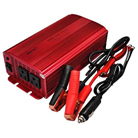 BESTEKu00ae Dual 110V AC Outlets 1000W Car DC 12V to AC 110V Inverter Power Supply DC Adapter Laptop Charger Notebook Adapter DC charger AC Adapter with Battery Clamps and Car Cigarette Lighter Plug