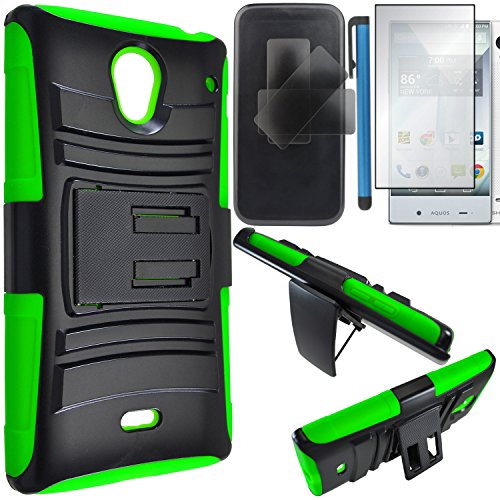 Sharp Aquos Crystal Case Combo(3-items)-HERCULES Dual- Layer Hard/Gel Hybrid Kickstand Armor Case w/ Holster (Black/Green)+ICE-CLEAR(TM) Screen Protector Shield(Ultra Clear)+Touch Screen Stylus (Sharp Aquos Phone Case Rubber compare prices)