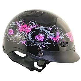 DOT Outlaw Black Glossy Pink Skull Butterflies Half Face Motorcycle Helmet