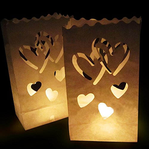 Go Luminary Bags - 20 Gorgeous Flame Resistant Lighting Bag with Duo Heart Design | Extremely Safe Durable Reusable Cotton | Perfect Decor for Wedding Reception Party | 326.4