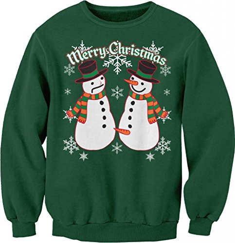 Snowman Pecker Funny Holiday Ugly Christmas Sweater - Sweat ShirtForest Green