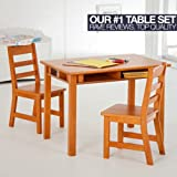 Lipper Lipper Childrens Rectangular Table and Chair Set, Walnut, Wood
