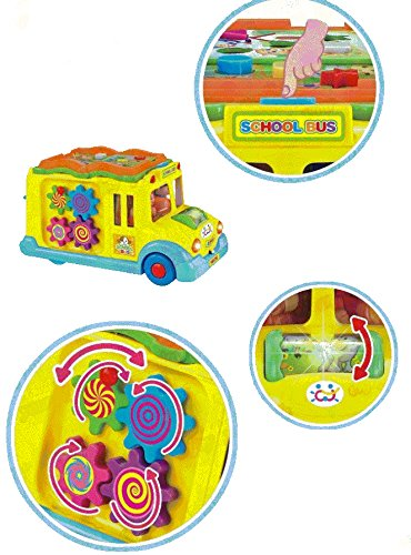 Bump & Go Musical School Bus Activity Toy Vehicle with Music, Sounds, and Lights for Toddlers