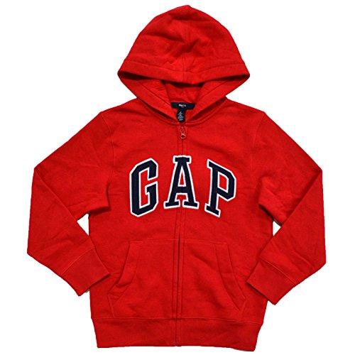 GAP Boys Fleece Arch Logo Zip Up Hoodie (L, Red)
