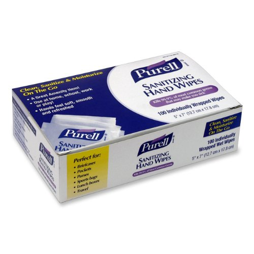 Purell Sanitizing Hand Wipes Individually Wrapped 100-Ct. Box front-859141