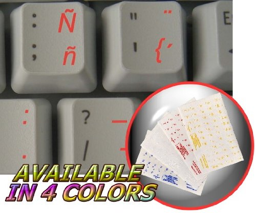 SPANISH (TRADITIONAL) KEYBOARD STICKERS WITH RED LETTERING TRANSPARENT BACKGROUND FOR DESKTOP, LAPTOP AND NOTEBOOK