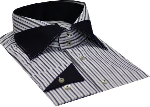 Italian Design Men's Formal Casual Shirts Designed Collar & Cuffs Black Colour