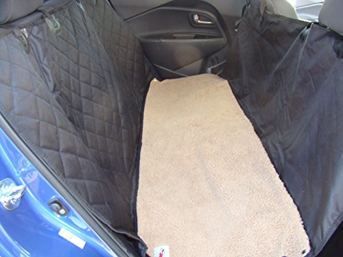 Dog Gone Dog Hammocks Pet Seat Cover with Brown Soft Washable Fleece Mat - 2 Piece Set - Waterproof - Nonslip + Seat Flaps - 58