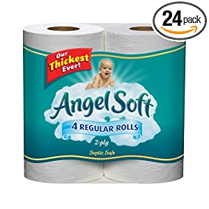 Angel Soft Regular Roll White, 4 Count (Pack of 24)