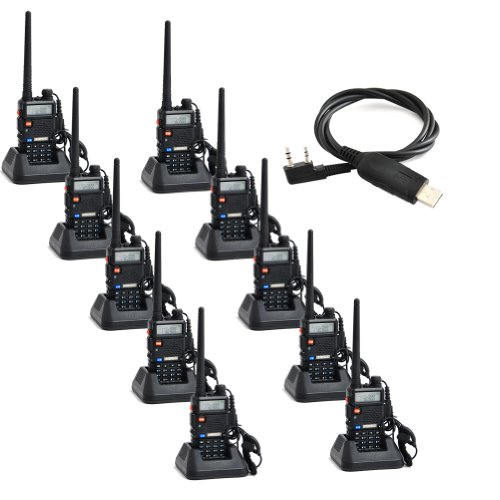 Baofeng Uv-5R Uhf/Vhf 136-174/400-480 Mhz Dual-Band Ctcss/Dcs Fm Transceiver Ham Amateur Radio Walkie Talkies With Headsets 2 Way Radio Long Range Black 10 Pack And Programming Cable