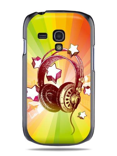 "Grüv Premium Case - ""Colorful Music Dj Headphones & Stars"" Design - Best Quality Designer Print On Black Hard Cover - For Samsung Galaxy S Iii 3 Mini I8190"