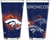NFL Denver Broncos 16-Ounce Half Tone Pint Glass (Pack of 2)