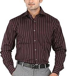 SPEAK Maroon Stripes Cotton Mens Formal Shirt