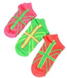 Girls 3 Pack Neon Trainer Liner England Union Pink/Green/Yellow Design Socks UK 9-12