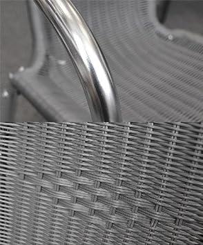 2 Stück Aluminium Stapelstuhl Gartenstuhl Bistrostuhl Mit Poly Rattan  Bespannung Silber/Anthrazit   Us263