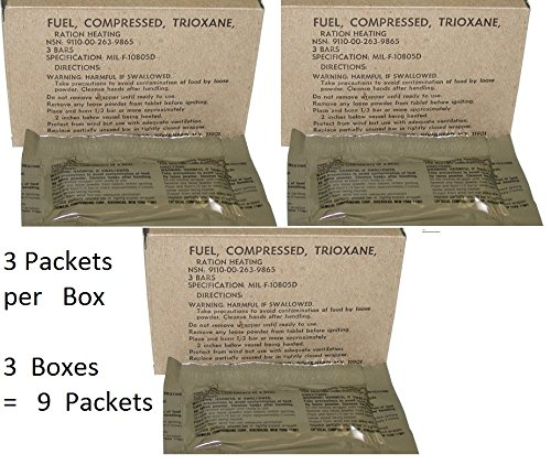 U.S. Military Fire Starter Trioxane Fuel Bars 3 Boxes of 3 Bars = 9 Bars Total (Trioxane Fire Starter compare prices)