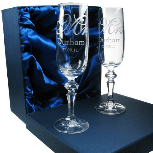 Bride and Groom Gifts, Personalised Wedding Champagne Flutes, 24% Lead Crystal Engraved Champagne Glasses, Wedding Gift Idea
