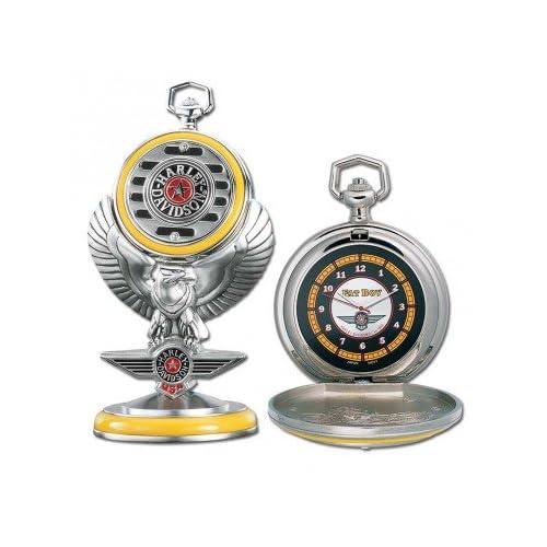 Franklin Mint Harley Davidson Fat Boy Pocket Watch Set B20XR95   Birthday / Anniversary / Christmas Gift Item