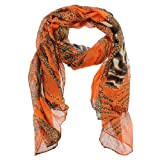 Fashion Women Large Long Leopard Zebra Print Cotton Neck Shawl Stole Wrap Scarf (orange)