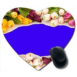 Awwsme Colourful Flowers Heart Mousepad