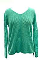 White + Warren Lattice Stitch V Neck in Thyme