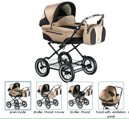 Review Roan Rocco Classic Pram Stroller 2-in-1 with Bassinet and Seat Unit 6 (Six) Colors - Coffee