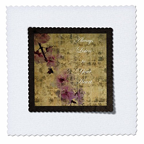 3dRose qs_63428_10 Listen to Your Heart Inspired Cherry Blossom Floral Quilt Square, 25 by 25-Inch
