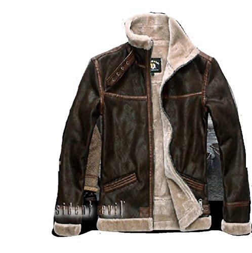 [Cosgogo Koveinc Resident Evil 4 Leon Kennedy Men's PU Leather Jacket (size:S----XXL)] (Leon Kennedy Costumes)