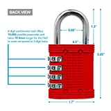 Padlock - 4 Digit Combination Lock for School, Employee, Gym & Sports Locker, Case, Toolbox, Fence, Hasp Cabinet & Storage - Easy to Set Your Own Combo - Metal & Plated Steel - Color Red