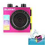 Blusmart? Waterproof HD Action Camera 1080P Sports Camera 12 MP Action DVR Wide Angle DV Diving Action Camera(Waterproof DV-Pink)