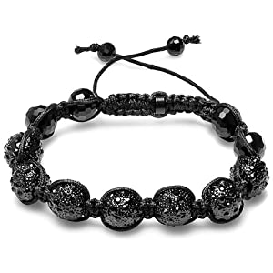 Bracelet Mens Ladies Unisex Hip Hop Style Pave Seven 11mm Crystal Black Disco Balls Faceted Bead Unisex Adjustable