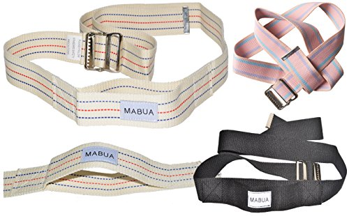 MABUA Physical Therapy Gait Belt with Metal Buckle -1 Loop Handle Beige 60