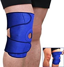 Sports Adjustable Knee Patella Sleeve Wrap Support Brace Cap Stabilizer Blue