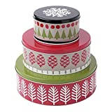 Hallmark Home Holiday Round Nesting Tins (Set of 3), Red, Green, and Black Patterned Trees