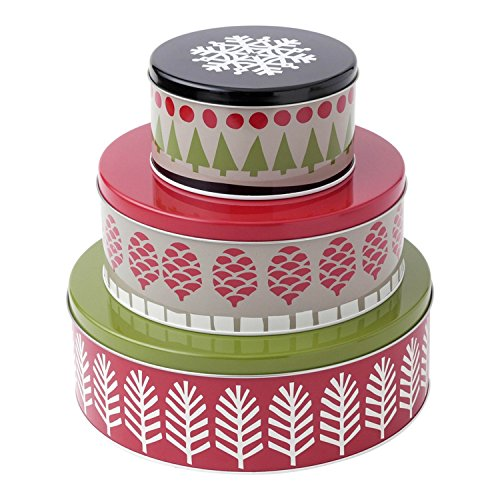 Hallmark Home Holiday Round Nesting Tins