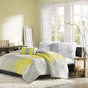 Home Essence Chloe 4-Piece Comforter Set, Queen, Yellow