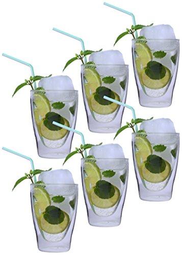AKTION: 6x 280ml XL doppelwandige Latte Macchiato-Gläser / Cocktailgläser / Eistee-Gläser / Saft- und Wassergläser - edle Thermogläser mit Schwebeeffekt von Feelino, 6x 280ml