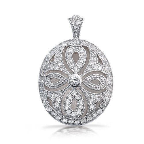 Mothers Day Gifts Bling Jewelry Oval Vintage Style Teardrop Cutout CZ Locket Pendant .925 Sterling