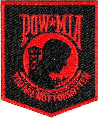 POW MIA Patch Black Red VET MILITARY New Embroidered Biker Vest Patch PAT-2366