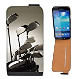 Golf Clubs in Golf Bag Ready to Play Leather Flip Case Cover for Samsung Galaxy S4 i9500