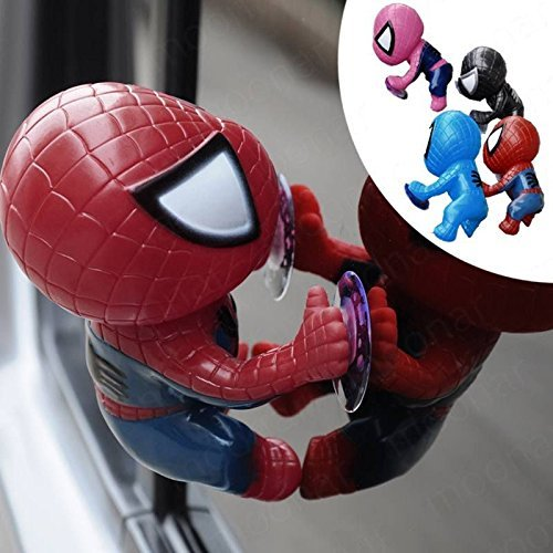 16CM for Spider Man Toy Climbing Spiderman Window Sucker for Spider-Man Doll Car Home Interior Decoration 4 (Spider Man Noir Costume)