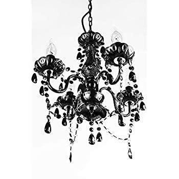 "A2S Gypsy Crystal Chandelier - Small Black 4-Arm - H18"" W15"" Acrylic Crystals & Solid Iron Design - Boho Chic Style"